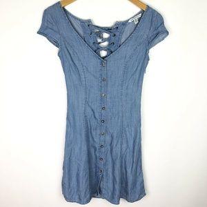 American Eagle Blue Chambray Lace Back Mini Dress